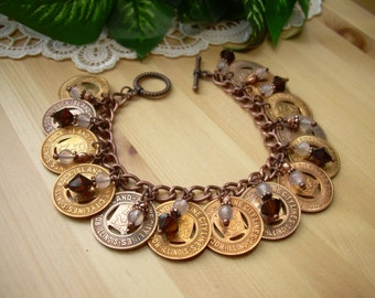 Transit Token Jewelry ~ Rock Island Moline City Illinois ~ Charm Bracelet