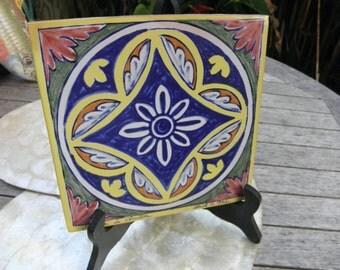 Vintage Italian Hand Painted Vintage Decorative Tile/Trivet, Artist Signed, Cobolt Blue, Pottery