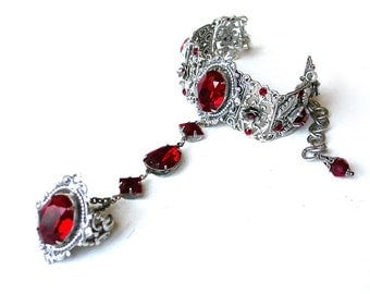 Gothic Ring Bracelet Wedding Slave Bracelet Red Swarovski Silver Bracelet with Ring Filigree Bracelet Victorian Gothic Jewelry