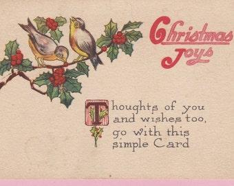 "Ca. 1913 ""Birds on a Limb"" Christmas Greetings Postcard - 1545"