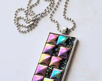 Mini Mosaic pendant, 3, one of a kind, mosaic tiles, silver finish, gold, purple, green, blue