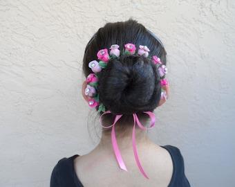 Small Rosebuds with Rhinestones Bun Crown, in 20 Colors, Bun Wrap, Flower Bun Wrap, Flower Bun Crown, Ballet Headpiece, Bun Holder