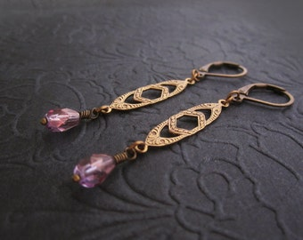 Art Deco Earrings - Soft Lavender Lilac Amethyst Purple - Lightweight Brass Jewelry - Delicate