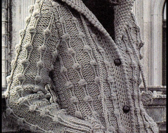 No.224 Knitting Pattern Vintage PDF For Women - Hooded Bobble Cardigan In Bulky Weight Yarn - Retro Knitting Pattern - Instant Download