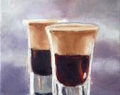 Oil Painting, Still Life Painting, 5x7 Painting, Liquor Art, Shot Glasses Painting