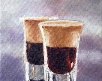 Oil Painting, Still Life Painting, 5x7 Painting, Liquor Art, Shot Glasses Painting