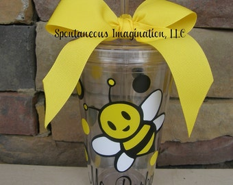 Bumble Bee Tumbler - 16oz personalized acrylic- Teacher Apreciation Gift - Co worker Gift
