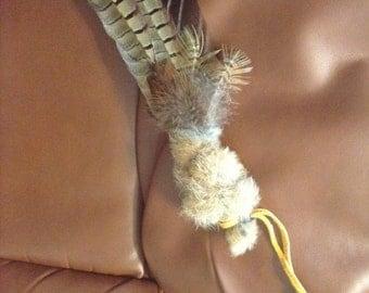 Smudge Fan turkey and pheasant rabbit fur buckskin