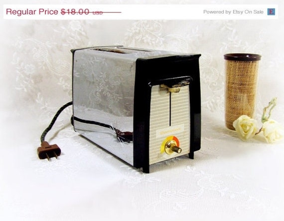 1960s Toaster With Bread ~ Vintage retro s toaster slice pop up by