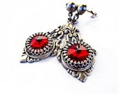 Gothic Earrings Siam Red Swarovski Crystal Post Earrings Silver Earrings Victorian Gothic Jewelry