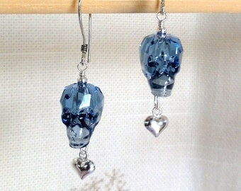 Swarovski Crystal Skull Earrings - Translucent Denim Blue Crystal Skull Earrings