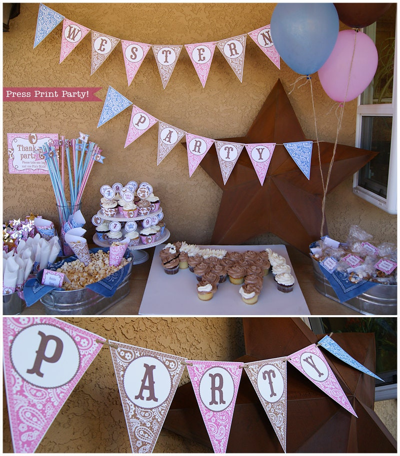 Western Decor For Birthday: Cowgirl Western Party Printables Pink Brown And Blue