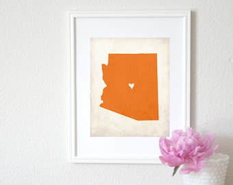 Arizona Rustic State Map. Personalized Arizona Map. Arizona Wedding Map. Wedding Gift. Anniversary Gift. Art Print 8x10.