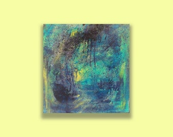 """ORIGINAL ABSTRACT Painting 17 x 17 x 1 3/16"""" Titled: A Glimmer of Light , Contemporary Art on Canvas by Colleen Gimben"""
