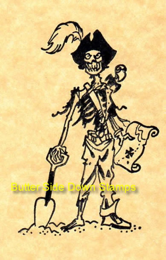 Undead Pirate Captain Rubber Stamp From