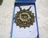 Ethiopian Welo Opal Beaded Finding Necklace, Bronze Colored Filigree Finding, Bronze Colored Chain