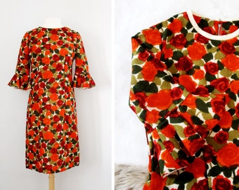 Vintage 1950s 60s Rose Print Wool Pencil Dress with Ruffled Bell Sleeves - Size Medium to Large