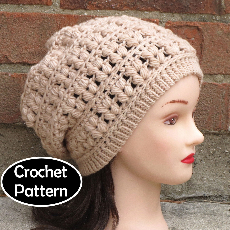 Crochet Slouch Hat: CROCHET HAT PATTERN Instant Download Pdf Celine Slouchy Hat