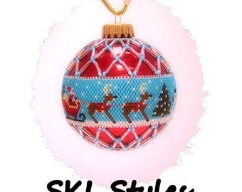 Santa and Reindeer woven Delica beaded Christmas Ornament
