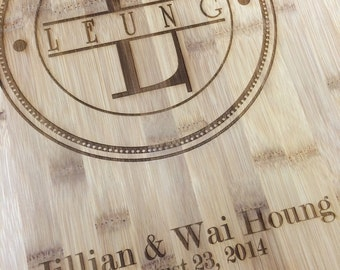Couple Last Name Personalized Bamboo Cutting Board, Wedding Gift Cutting Board