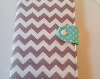 Kindle Fire HD 7 Ipad Mini  Kindle Paperwhite Nook HD cover eReader Cover Gray and White Chevron with Robins Egg polka dot Made to order