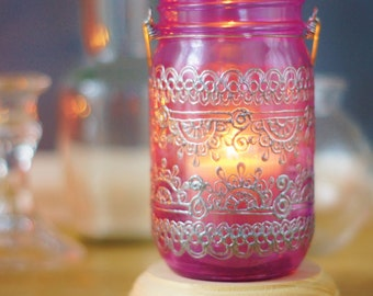 Boho Decor Mason Jar Lantern, Moroccan Inspired Magenta Glass with Silver Detailing
