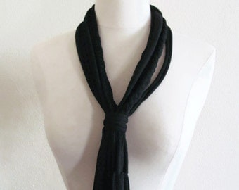 Black Western Style Upcycled Recycled Repurposed Tassel T-shirt Scarf/ Necklace with Braids