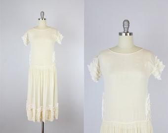 vintage 20s silk dress / 1920s drop waist dress / floral lace dress / ribbon trim dress / 20s semi sheer dress