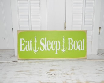 Eat Sleep Boat Sign With Anchors Country Coastal Beach Cottage Signs