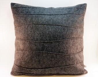 Charcoal Gray Pillow Felt Pillow Decorative Pillow with Ribbing, 16 x 16, 18 x 18, 20 x 20