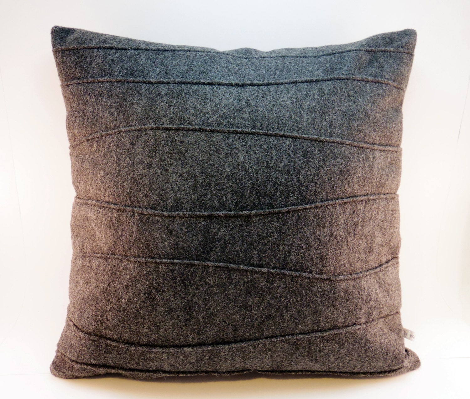 Charcoal Gray Pillow Felt Pillow Decorative Pillow with