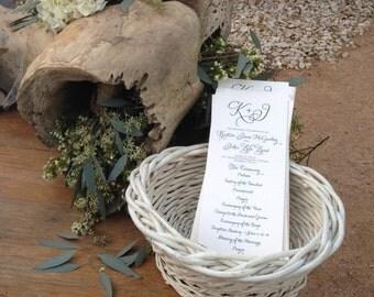 Custom Wedding Program, Tea Length +