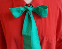 Upcycled Steampunk Clothing, Joker Shirt and Bow Tie (Orange Cotton Hand Dyed Shirt and Handmade Turquoise Cotton Bow Tie)