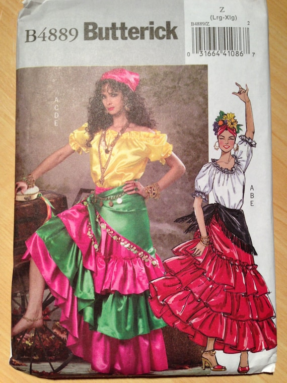 Butterick 4889 Misses Gypsy Belly Dancer Costume Sewing Pattern Size Large and XLarge