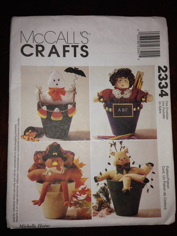 Mccalls 90s Crafts Sewing Pattern 2334 Flower Pot Pals