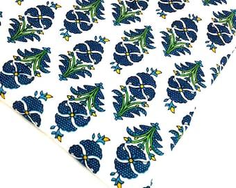 Tropical Print Soft Cotton Fabric - Block Printed Cotton Fabric - Green and White Tropical Trees Printed Cotton Fabric