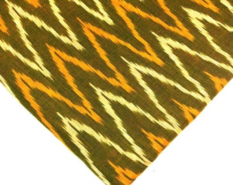 Olive and Yellow Handloom Ikat Fabric - Indian Cotton Fabric - Ikat Pattern Cotton Fabric by Yard
