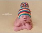 Baby Pom Pom Hat, Red Yellow Blue, Crochet Newborn Hat