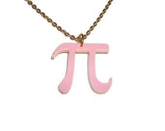 Pi Necklace, Pink Laser Cut Pendant, Math, Mathematics Pythagoras, Geeky Jewelry