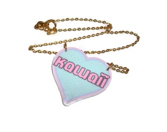 Pastel Kawaii Heart Necklace, Pink and Mint Green, Gold Plate Chain, Sweet Cute Word Necklace