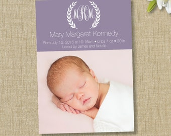 Monogram birth announcement. custom photo card.