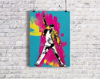 FREDDIE MERCURY Illustration, Freddie Mercury Poster, Freddie Mercury Art Print, Queen Poster, Brian May, Music Poster, Wall Art, Gift