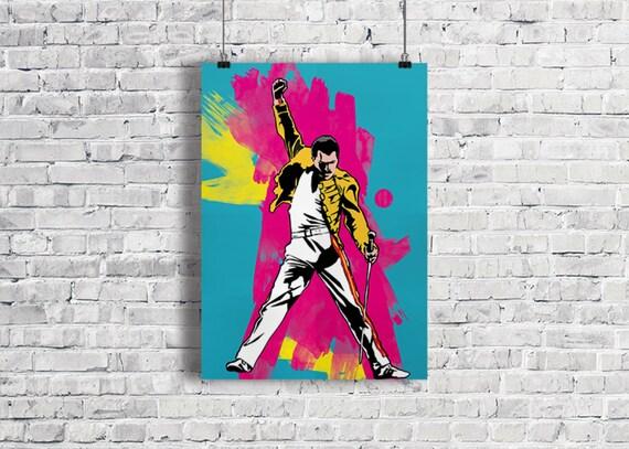 FREDDIE MERCURY Illustration, Freddie Mercury Poster, Freddie Mercury Art Print, Queen Poster, Brian May, Music Poster, Wall Art, Gift