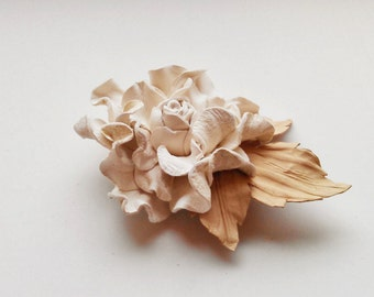 Ivory leather flower brooch, Handmade leather brooch, Leather flower brooch, Bridesmaid flower, Mother of the bride, Mothers Day gift
