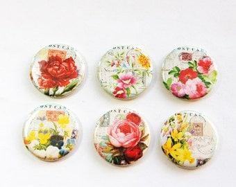 Flower Magnets, Floral magnets, Nature Magnets, button magnets, Flowers, Floral, Kitchen Magnets, stocking stuffer (3269)