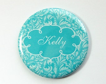 Personalized pocket mirror, damask, custom mirror, bridesmaid gift, pocket mirror, purse mirror, bridal shower favor, you pick color (3559)