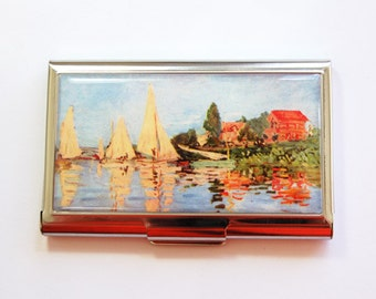 Monet Card Case, Business card holder, Monet, Business Card Case, Card case, Impressionist, Sailboats, Regatta at Argenteuil (4013)