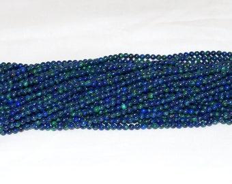 """Azurite Malachite 4mm Round Gemstone Bead  AAA - 16"""" Strand"""