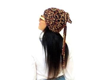 Brown Slouchy Beanie Hipster Hat Womens Slouch Beanie Crochet Beanie, Tasseled Hat, Velvet hat