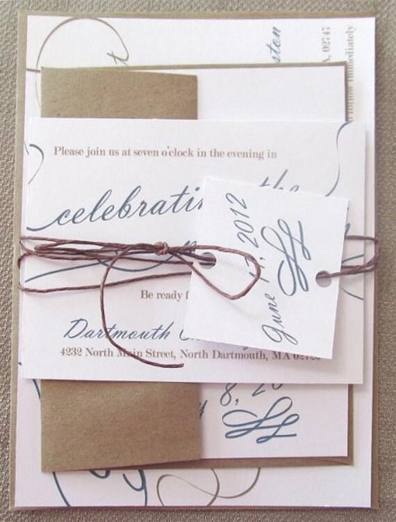 Modern Script Wedding Invitation Suite- Denim, Blue and Tan, Kraft Paper